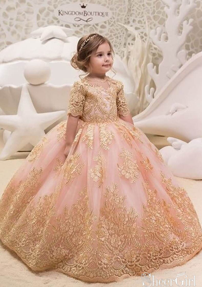 8779d4f90 Gold lace ball gown for kids.Flower Girl Dresses