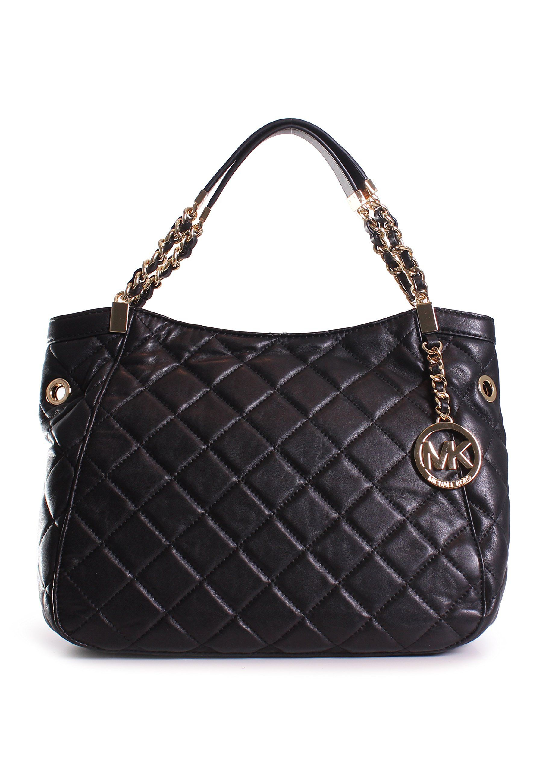 9a989d282f9b Michael Kors Susannah Medium Shoulder Tote in Black | Accessorizing ...
