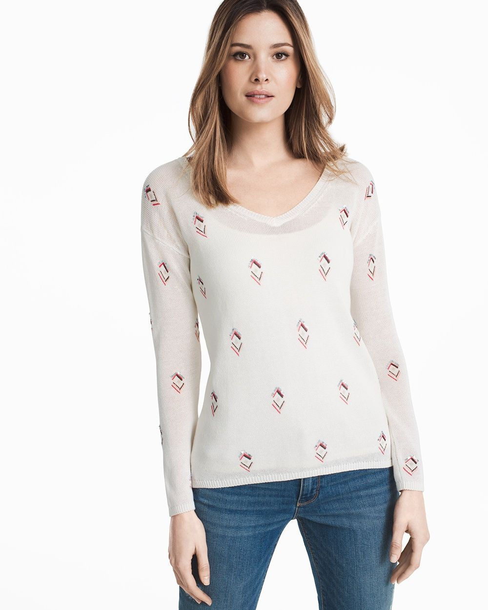 b6751a4d051a Women s V-neck Embellished Pullover Sweater by WHBM