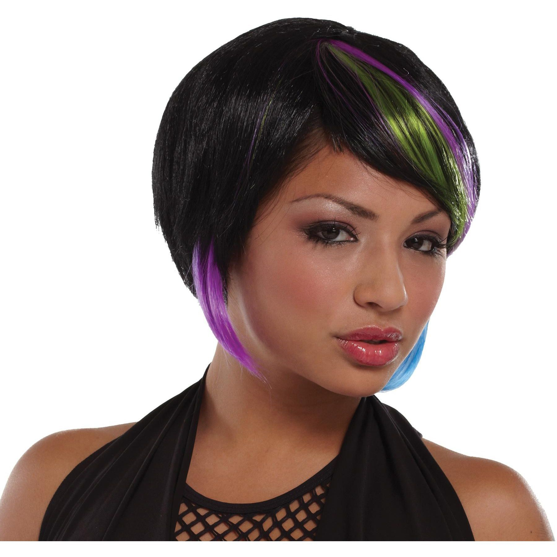 New rave wig black lime blue wig rave and layered bobs