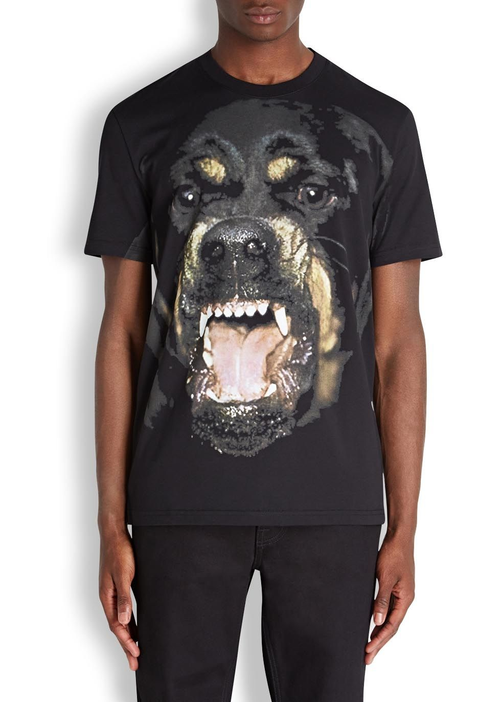 Black rottweiler-print cotton T-shirt - T-shirts & Vests - All Clothing - Men