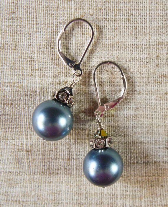 Mother of Pearl and Rhinestone Dangle Earrings  Materials: Mother of Pearl, Rhinestone, Crystal, Silver