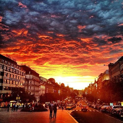 Sunset in Prague http://dld.bz/cTVK3 #prague