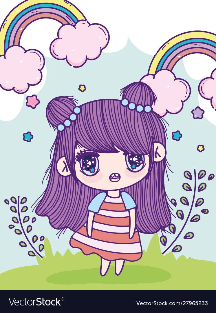 Photo of Anime cute girl bun hair rainbows leaves meadow Vector Image , #sponsored, #bun,…