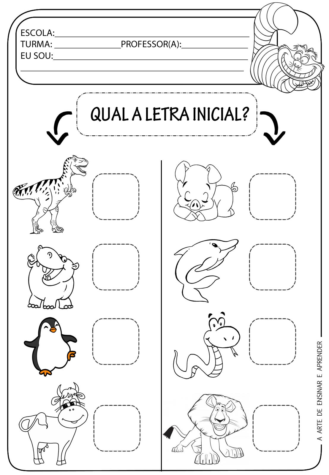 A Arte de Ensinar e Aprender: Atividade pronta - Letra inicial ...