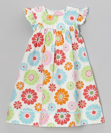 Take a look at this Pink & Orange Floral Yoke Dress - Infant, Toddler & Girls by Beehave on #zulily today!