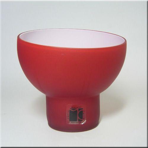 Carlo Moretti Red Murano Glass Satinato Bowl Or Vase Labelled