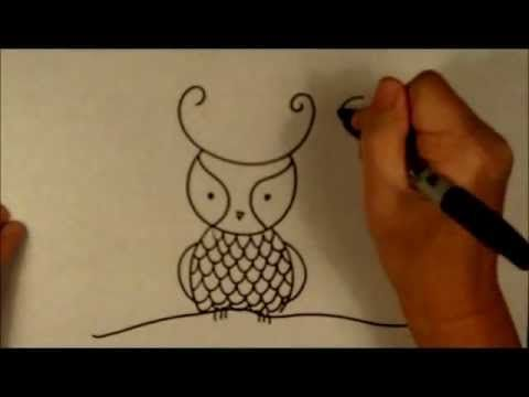 How to draw a cartoon owl easy beginner drawing tutorial for Basic sketches for beginners