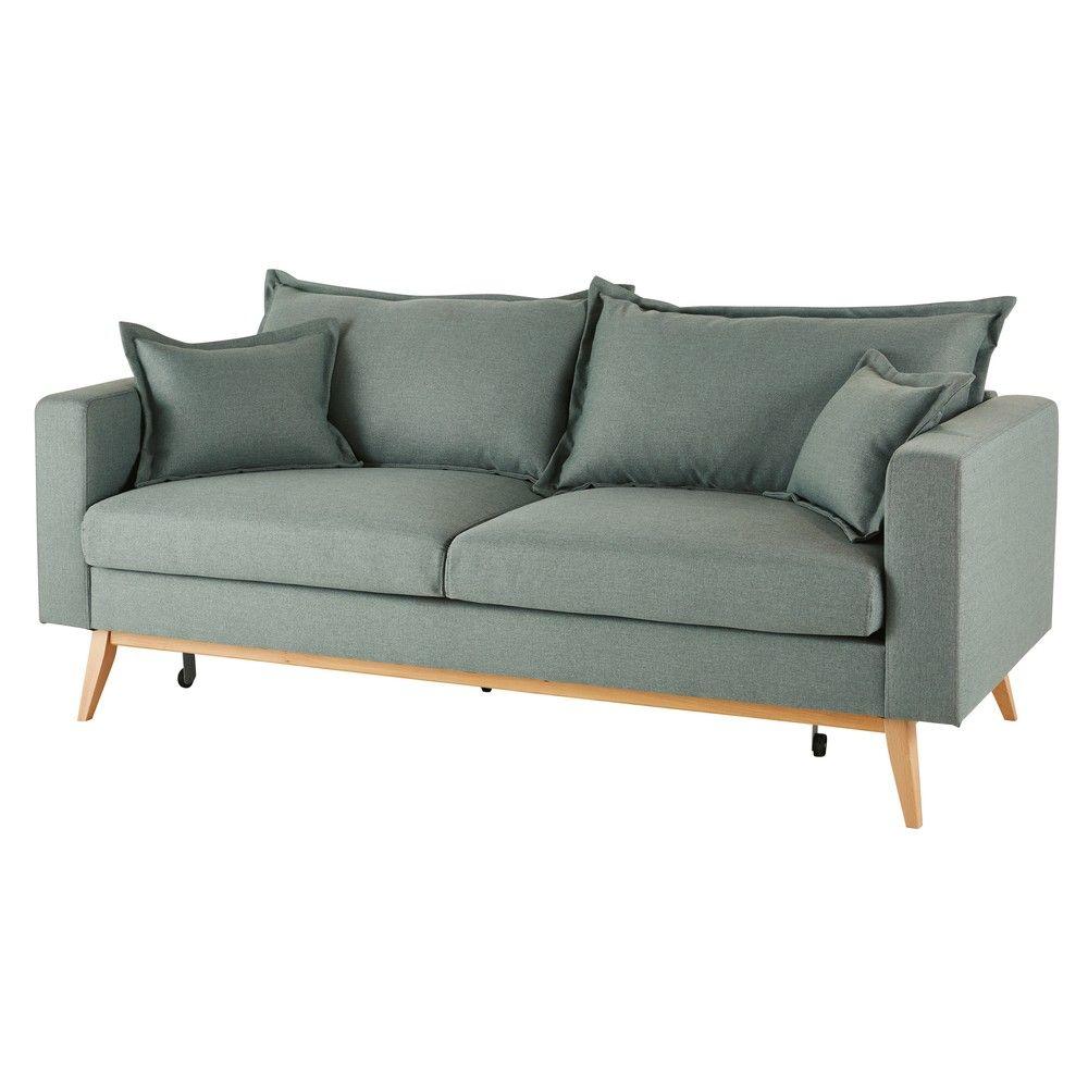 Ausziehbares Sofa 3 Sitzig Aus Stoff Hellgrau Maisons Du Monde Canape 3 Places Tissu Lit Vintage Canape Lit