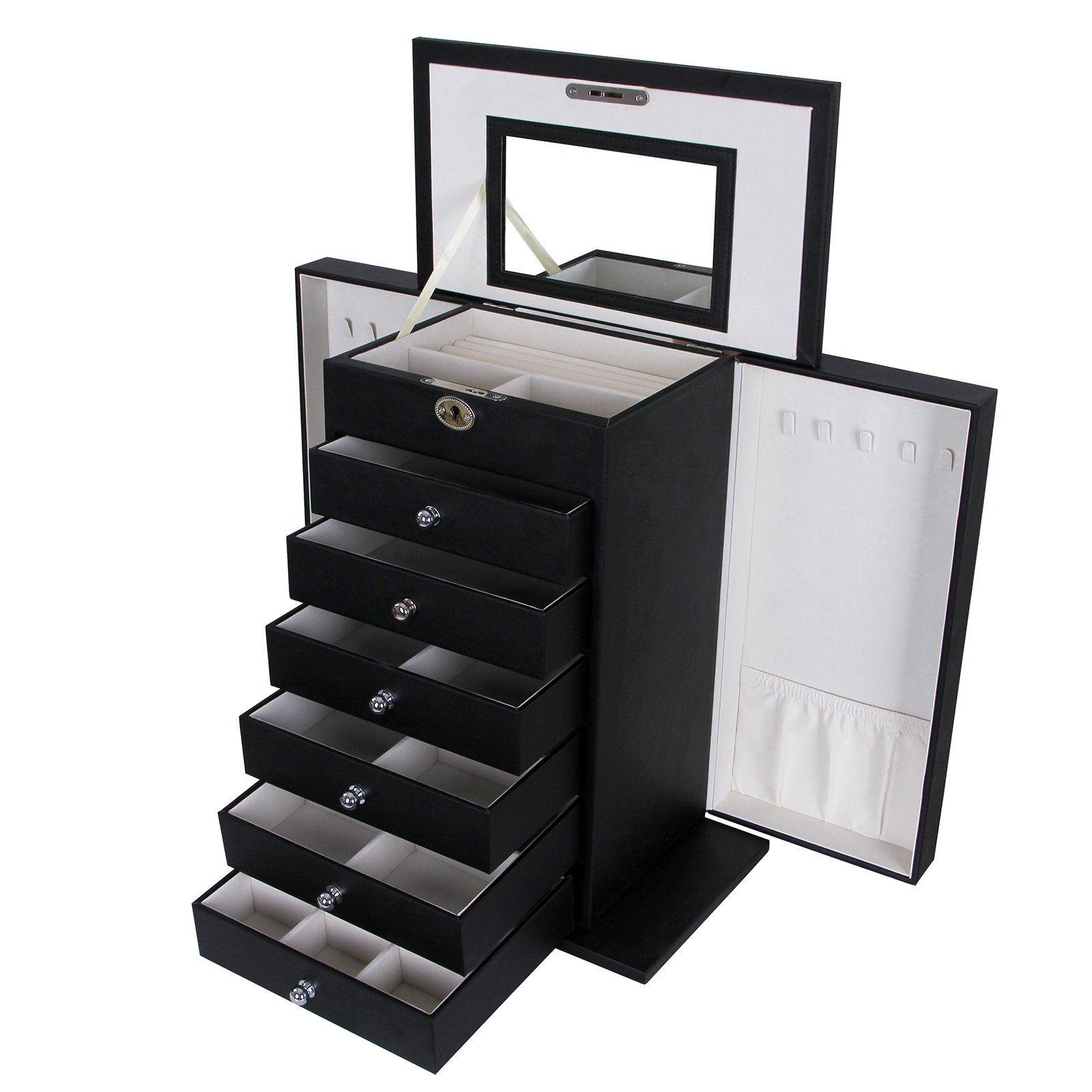 Songmics Black Leather Jewelry Box Cabinet Watch Storage Case