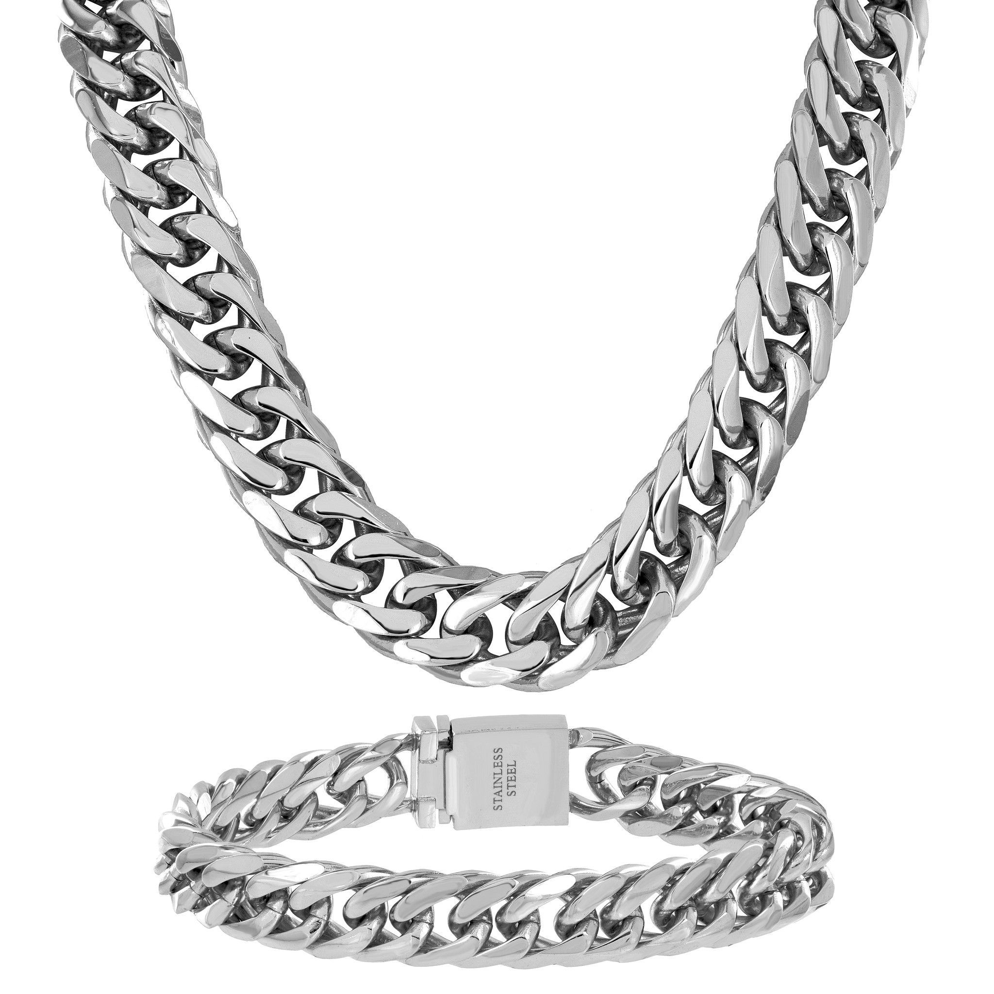 Mens Miami Cuban Necklaces White Gold Finish Stainless Steel Thick