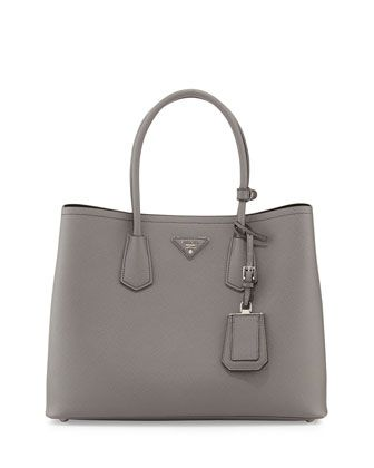 52f36d7c6dce25 Saffiano+Cuir+Double+Bag,+Gray+(Marmo)+by+Prada+at+Neiman+Marcus.