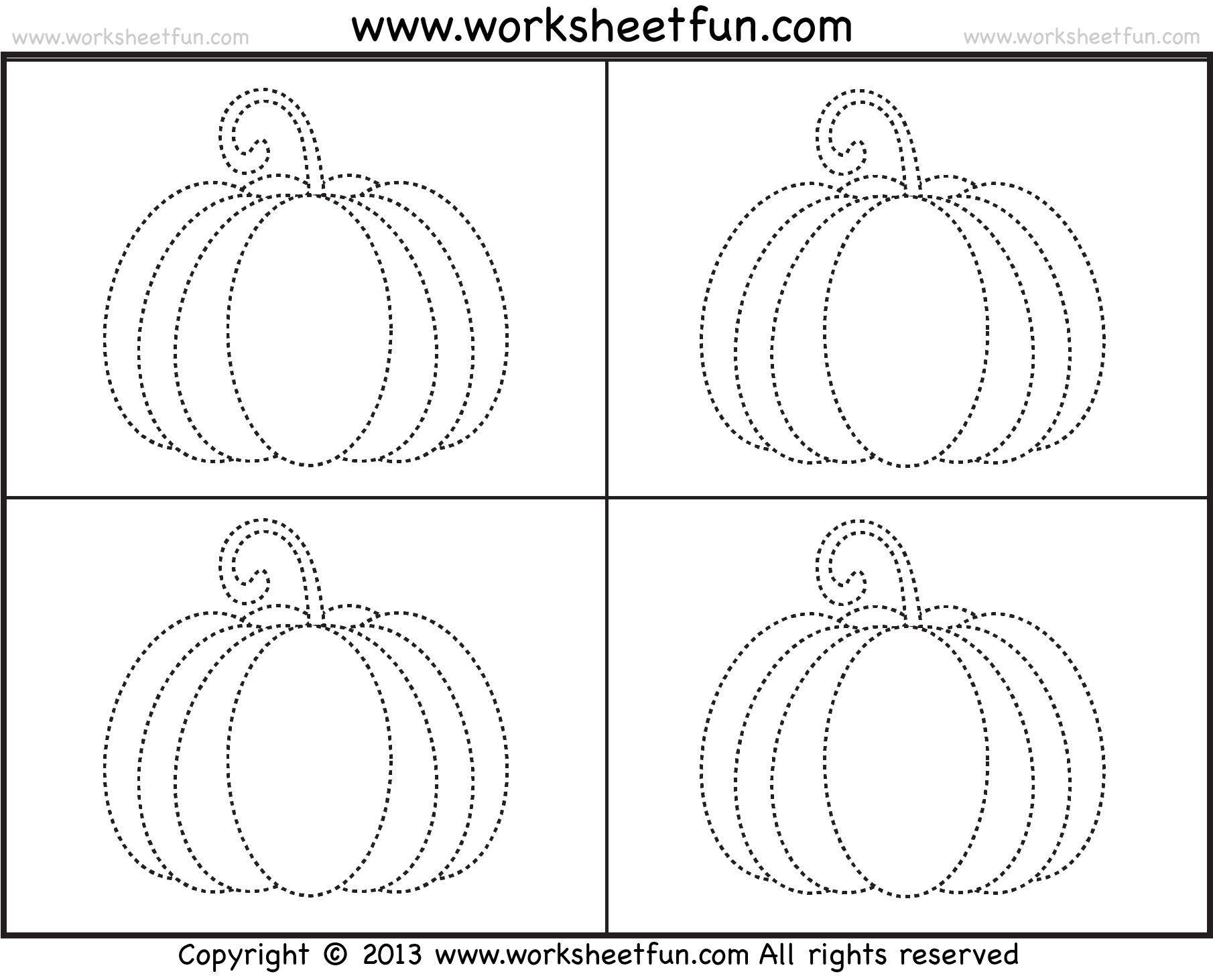 Small Pumpkins Tracing Worksheet
