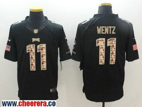 mens philadelphia eagles 11 carson wentz black salute to service stitched nfl nike limited jersey