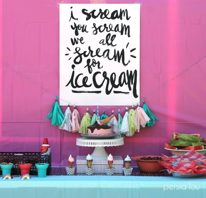 Ice Cream Birthday Party - Persia Lou #icecreambirthdayparty