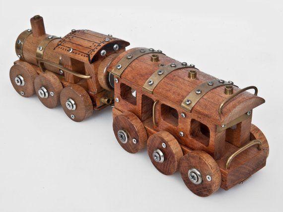 Steampunk Wooden Locomotive Wooden Children Toy Eco