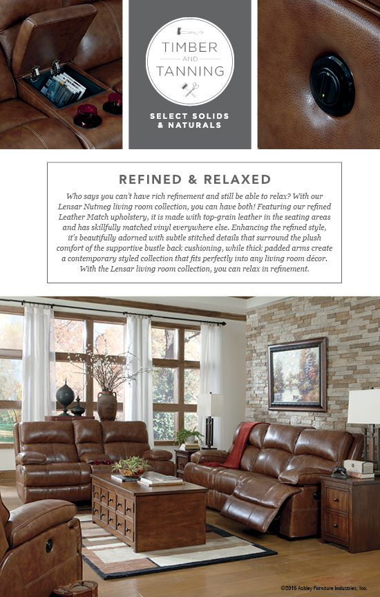Timber And Tanning Select Solids Naturals Lensar Dual Reclining Sofa Loveseat Wood Leather Furniture Style Ashley