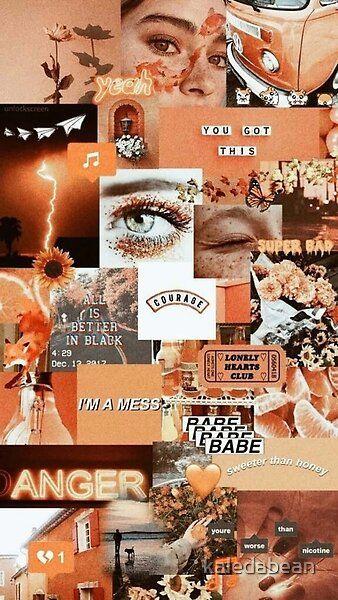 orange aesthetic grunge teen phone case wallet quote tumblr sticker by kaledabean | Redbubble
