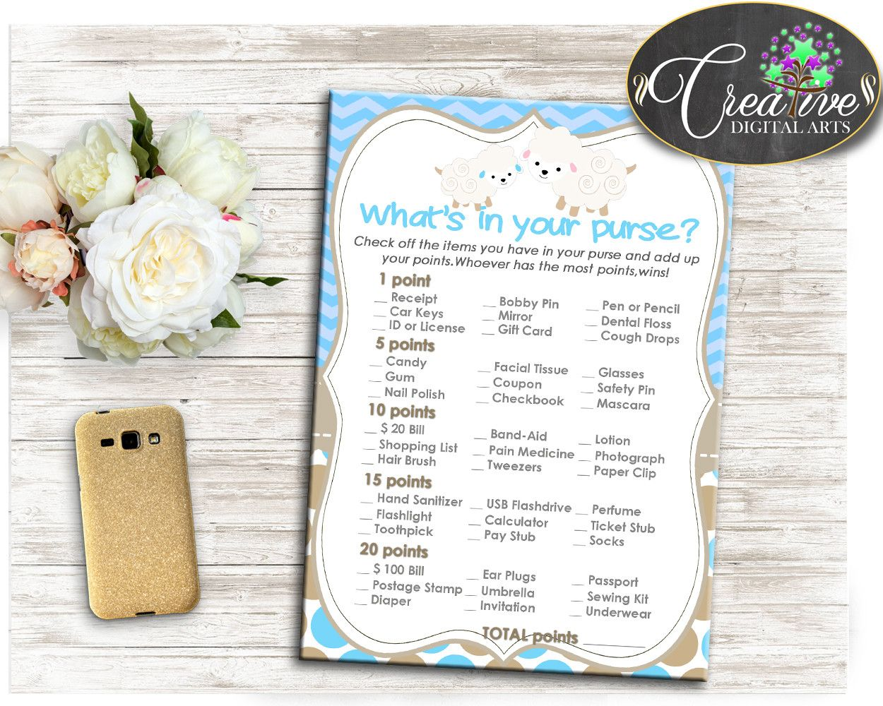 Little Lamb What S In Your Purse Blue Baby Shower Boy Game