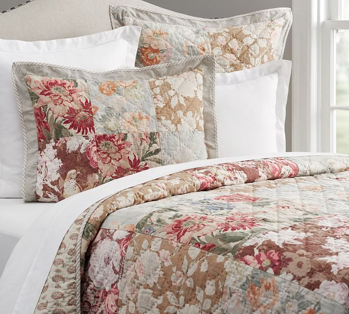 Carolina Floral Patchwork Reversible Quilt Sham Quilted Sham Pottery Barn Bedding Pottery Barn Quilts