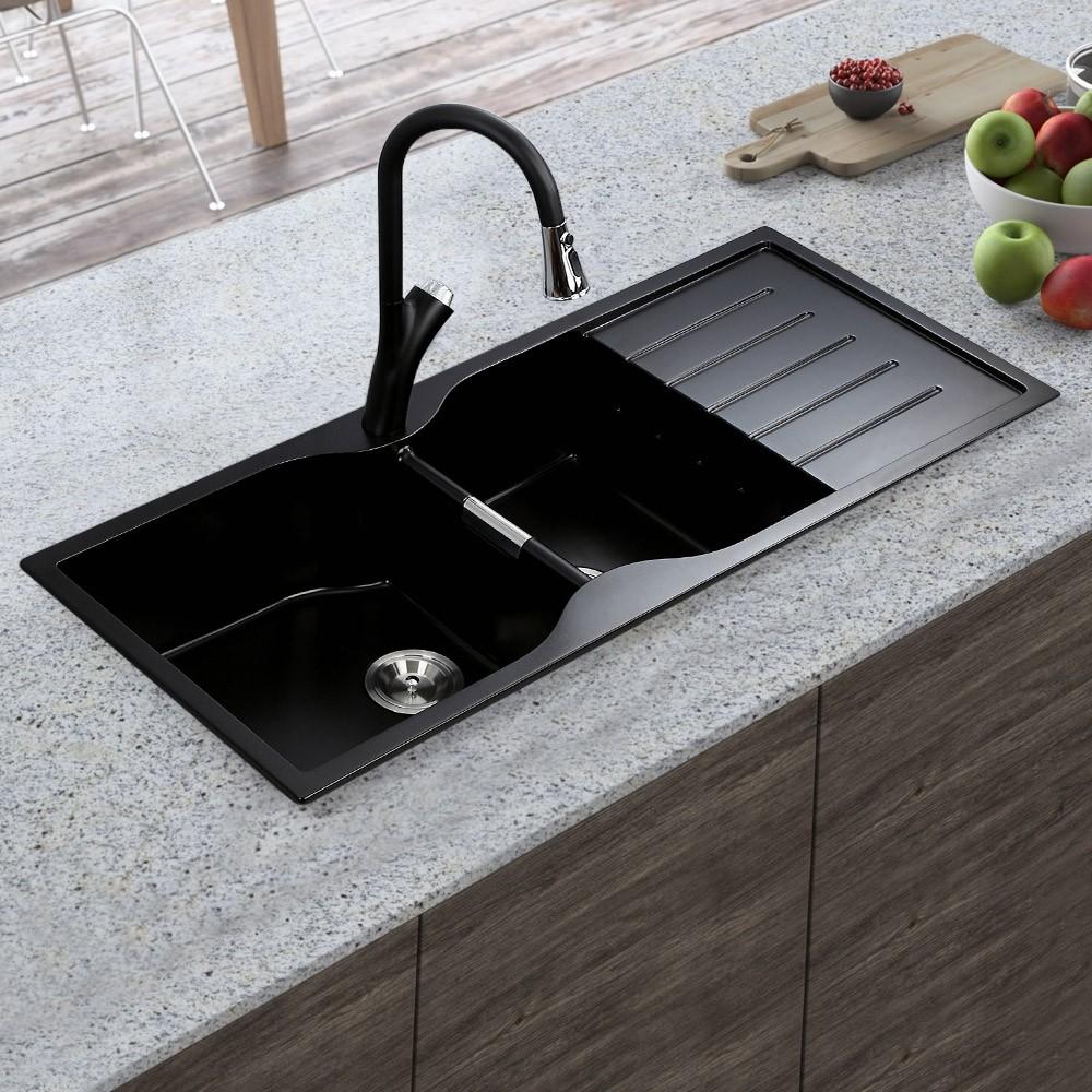 45 Drop In Matte Black Kitchen Sink With Drainboard Double Bowl Quartz Drop In Kitchen Sink Black Kitchen Sink Black Quartz Kitchen Countertops
