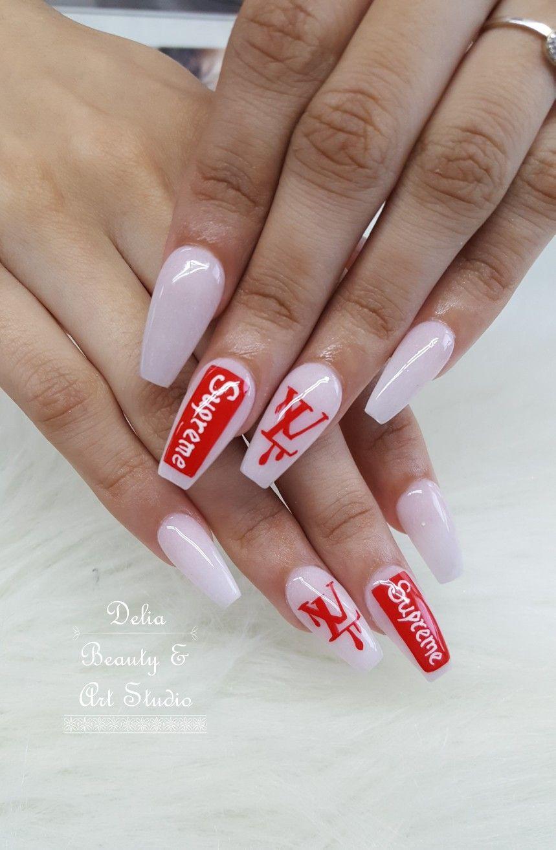 Louis vuitton nails, all powder acrylic nails | Nail Art | Pinterest