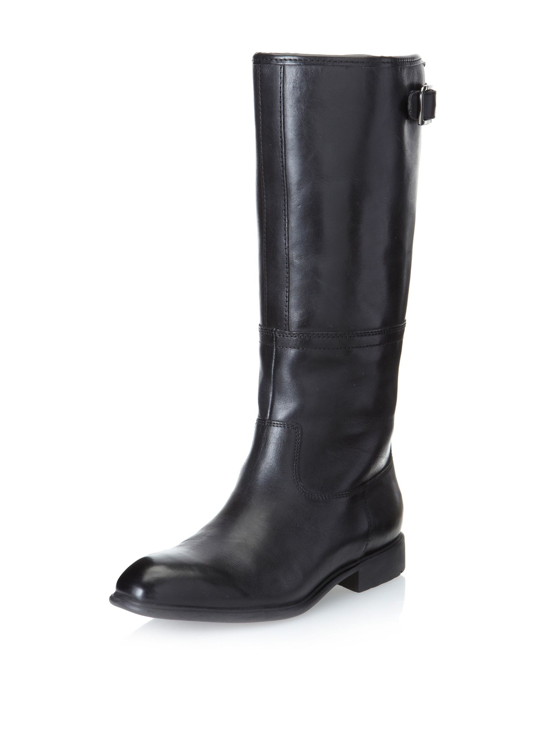 Rockport Women's Lola Pull-On Boot (Black) Classic riding style in smooth  leather