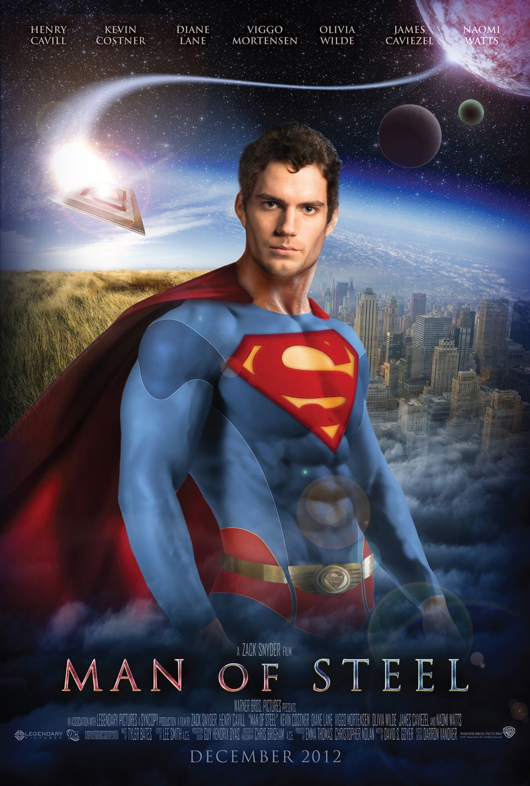 Artist Fan Art Interpretation Of The Yet To Be Released Promoted Superman Man Steel Movie Poster Starring Henry Cavill As