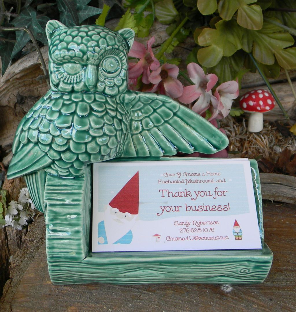 Owl business card holder office desk decor ceramic glazed- Vintage ...