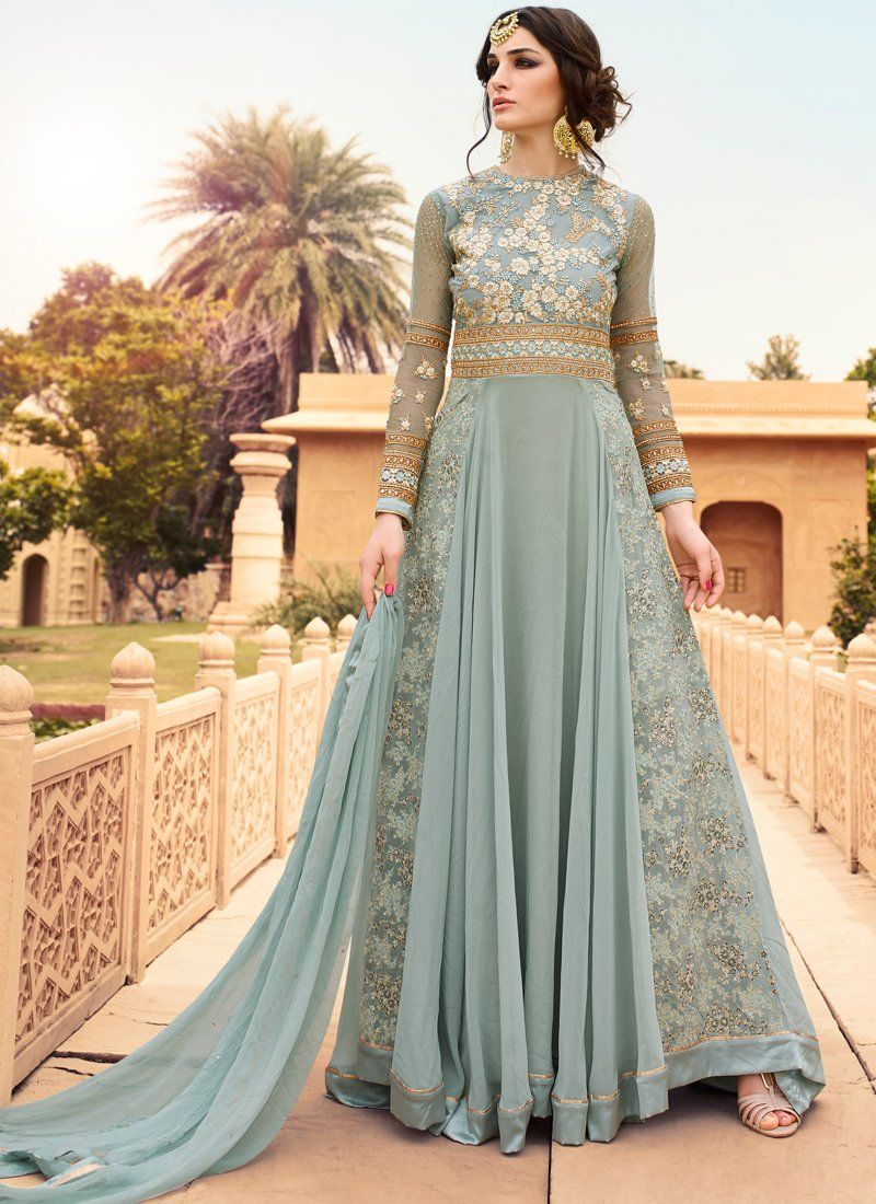 5360bc3884a1 Light Blue and Gold Embroidered Anarkali features a beautiful light blue  georgette top with a santoon bottom