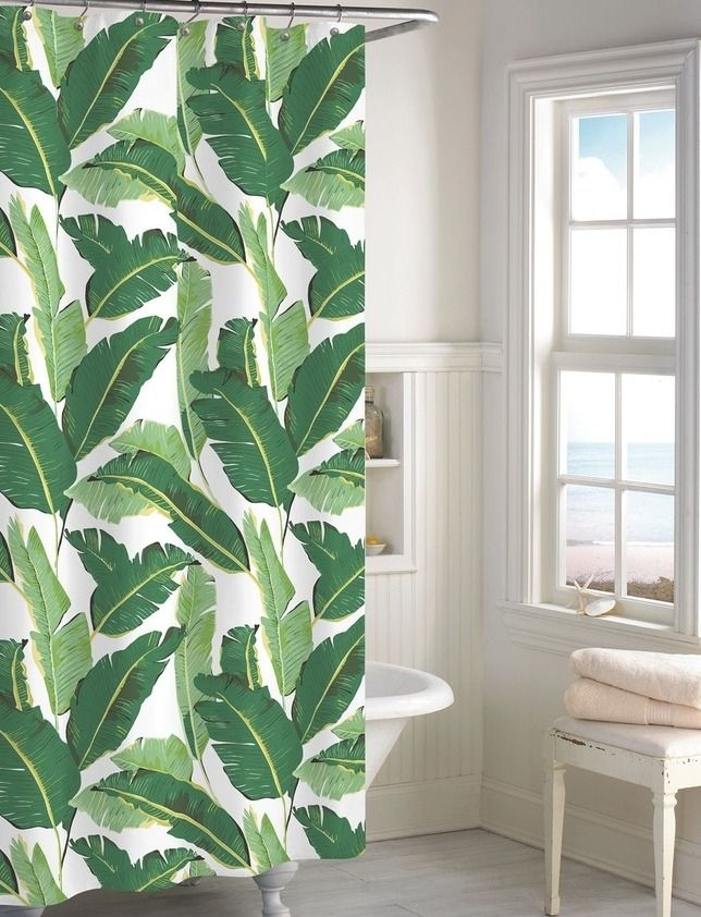 Turn The Bathroom Into A Tropical Oasis With This Cotton Shower Curtain Patterned In A Vibrant Shower Curtain Green Shower Curtains Banana Leaf Shower Curtain
