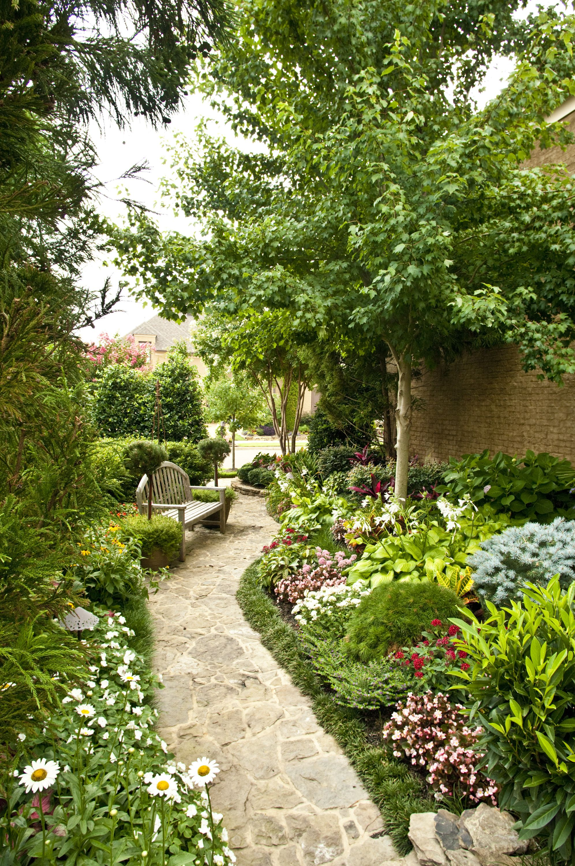 Stone Walkway W Perennial Seasonal Landscape By Gurley S Azalea Garden Inc Memphis Tn Courtyard Landscaping Beautiful Gardens Side Garden