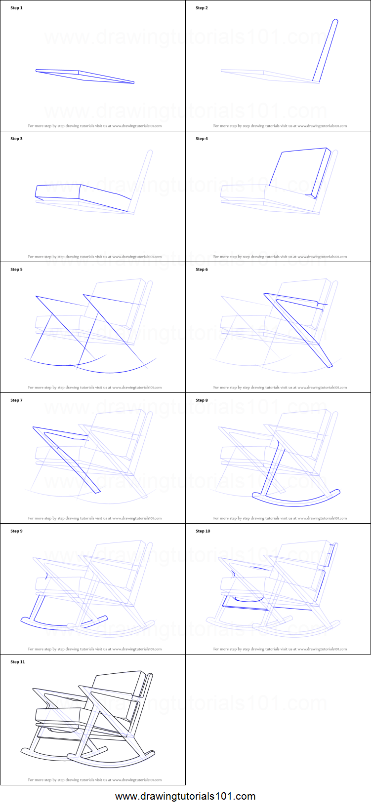 How To Draw Rocking Chair Printable Step By Step Drawing Sheet Drawingtutorials101 Com Drawing Sheet Rocking Chair Chair Drawing