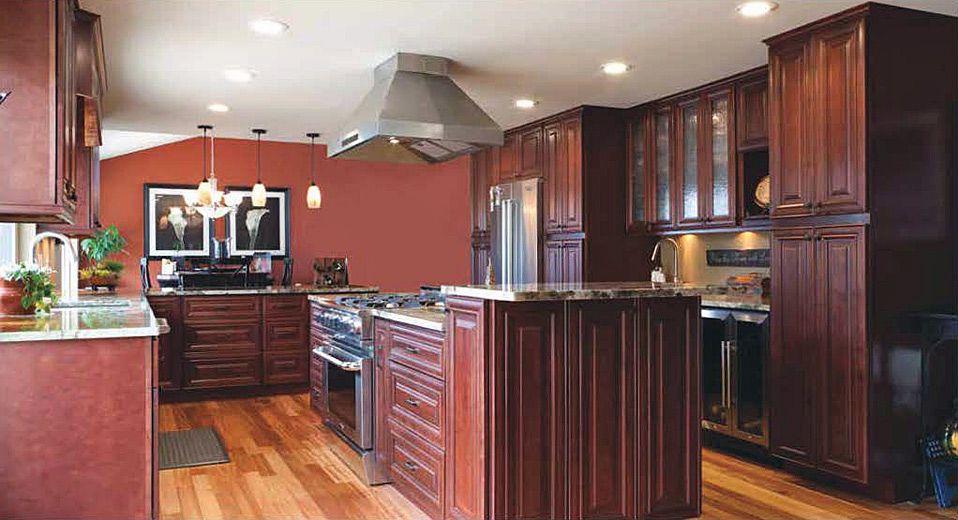 Red Mahogany Maple Glazed Kitchen Cabinets | Bathrooms ...