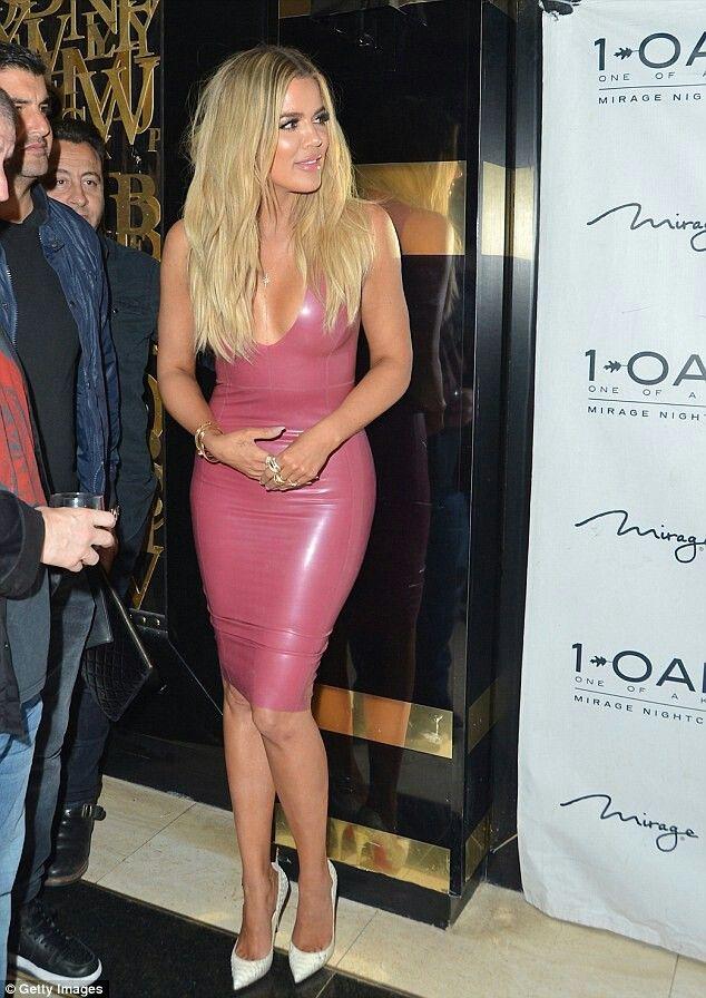 0dc6d81f38 Khloe Kardashian Pink Latex Dress