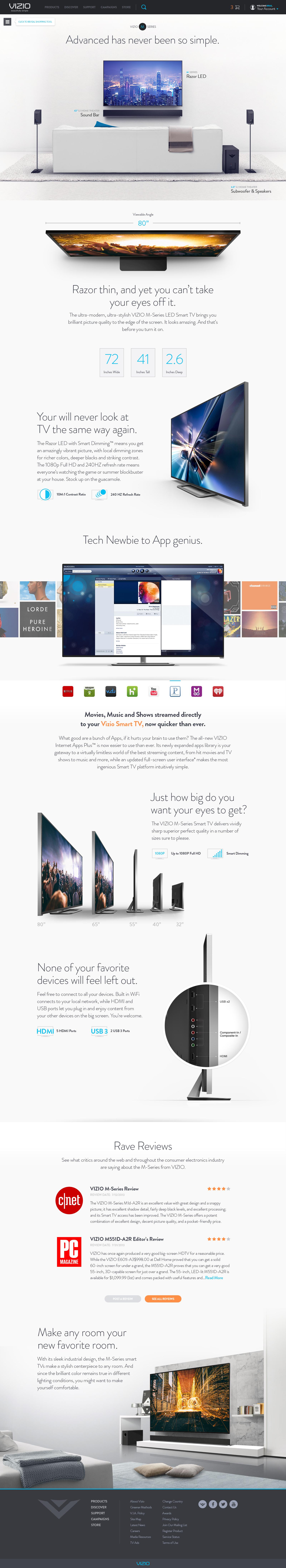 Vizio Site Redesign Pitch Modern Web Design Web Layout Design Webpage Design