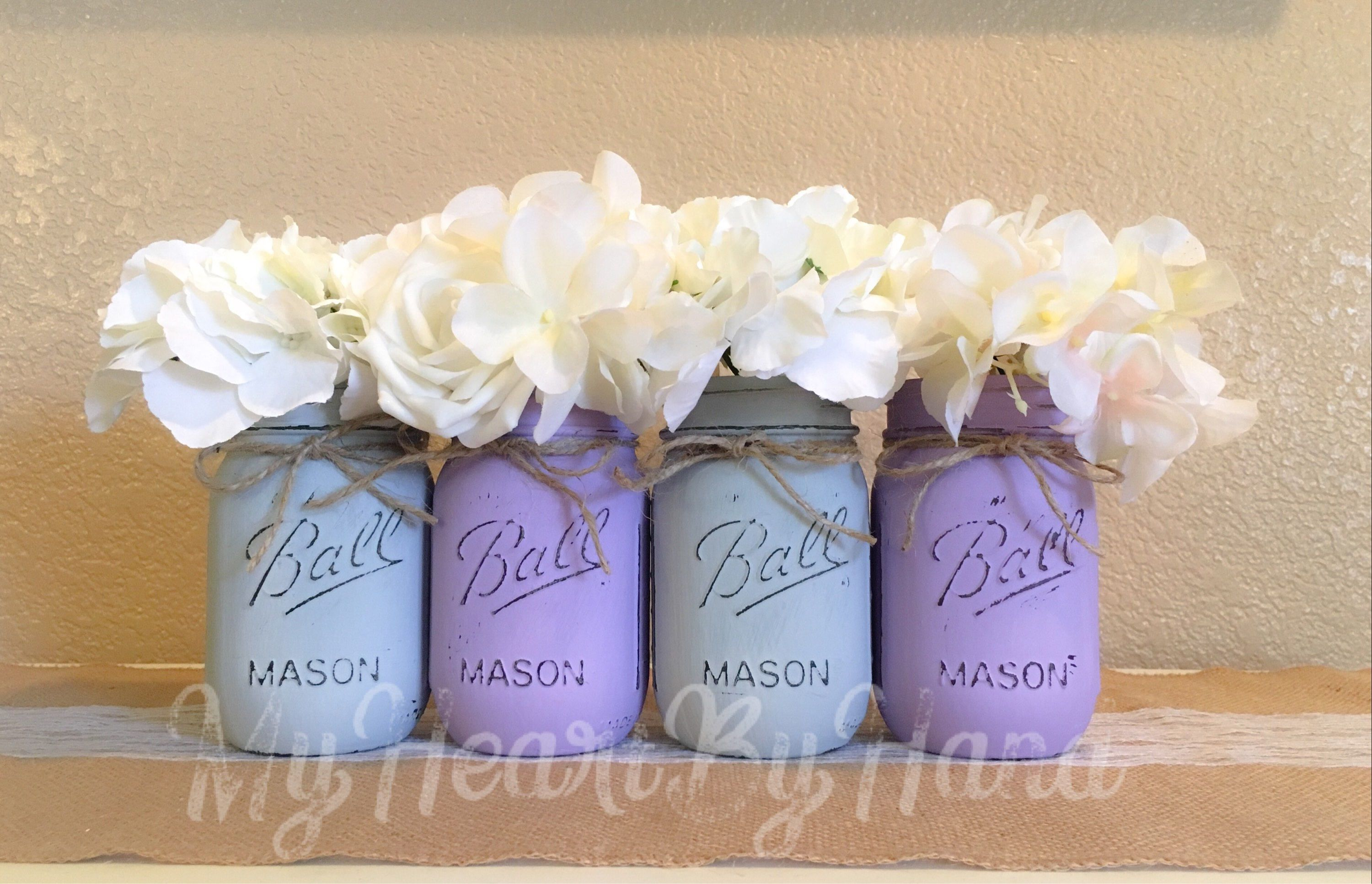 Baby shower centerpieces lavender and gray rustic mason jar