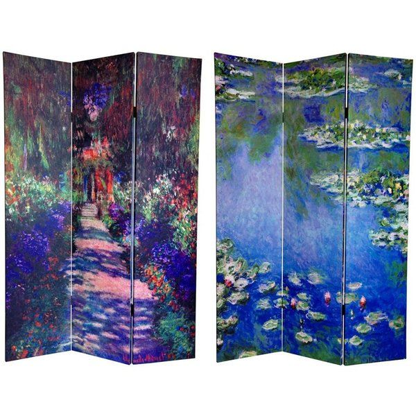 Tall Double Sided Works Of Monet Canvas Room Divider   Lilies/Garden At  Giverny   Wide Selection Of Room Dividers, Shoji Screens, Oriental And  Asian Home ...