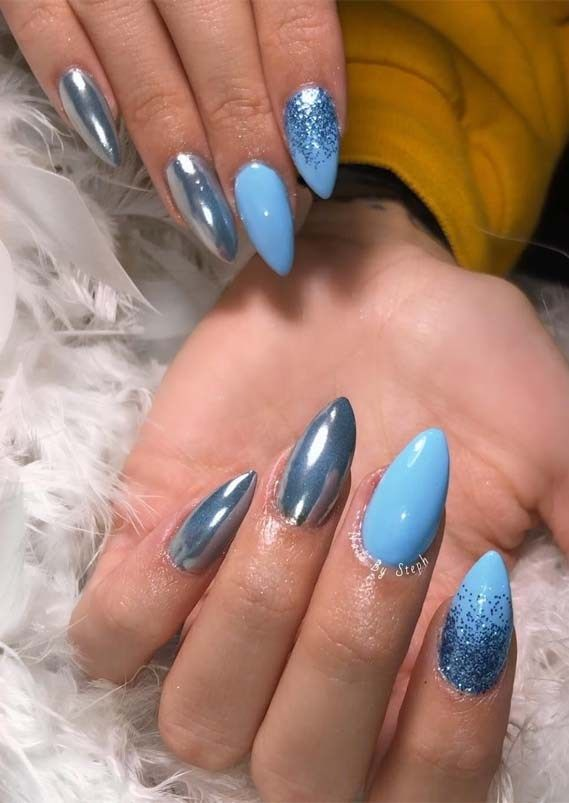 Gorgeous Glitter Blue Ombre Nail Designs in 2019
