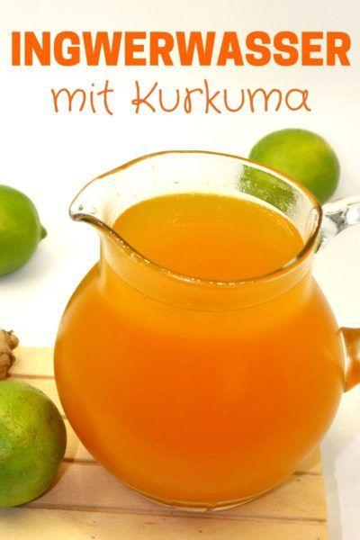 Ingwerwasser kalt genießen mit Kurkuma und Limette.