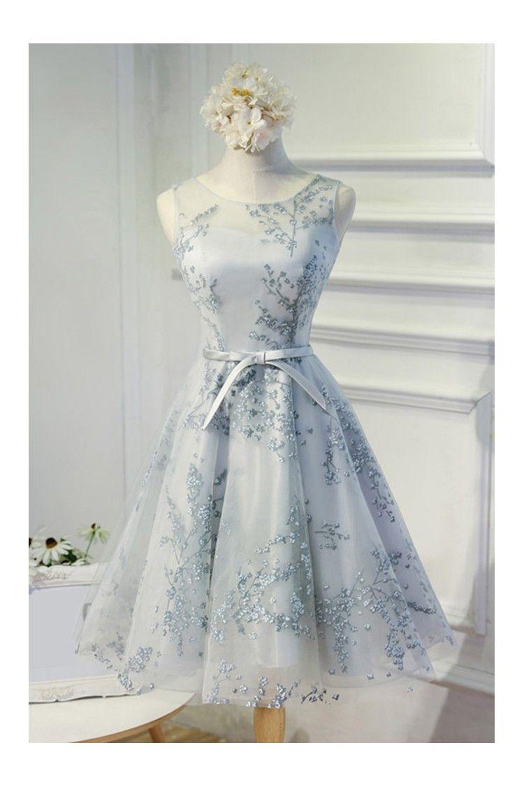 8e158924c4e0 Prom dresses short grey grey unique lace short a line party dress ...