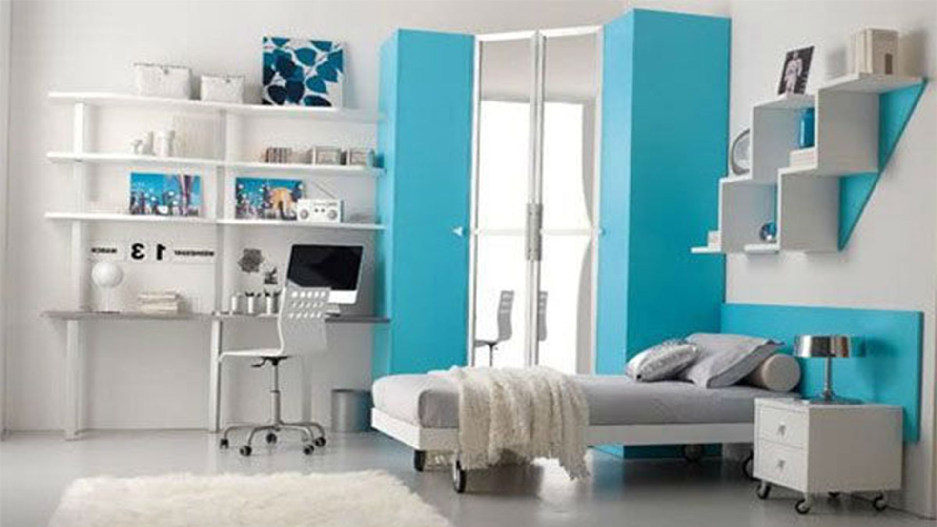 contemporary white themes design room for teenage girls with bedroom design for small space. beautiful ideas. Home Design Ideas