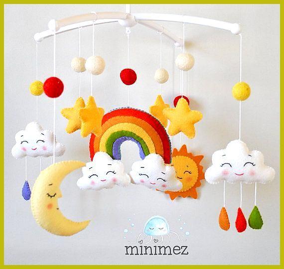Baby Mobile Regenbogen / Wolken Mobile / Sterne Mobile