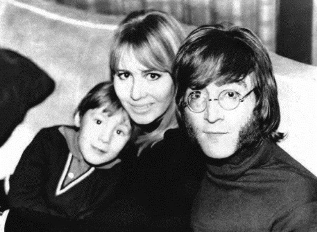 John Lennon with his ex-wife Cynthia and son Julian Lennon