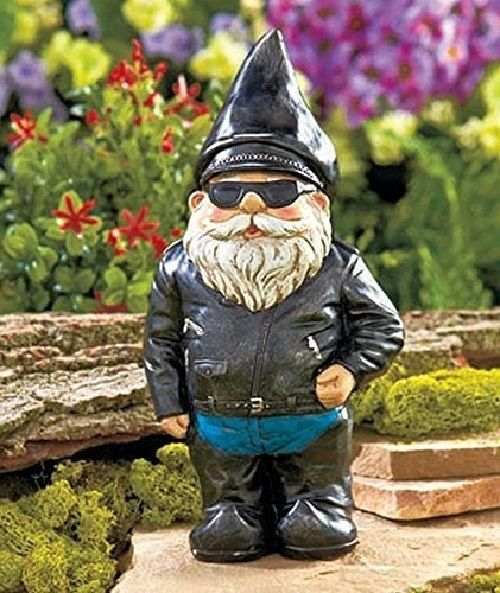 Biker Garden Gnome Statue Outdoor Figurine In Motorcycle Yard Decoration  Statues #BikerGardenGnomeStatue