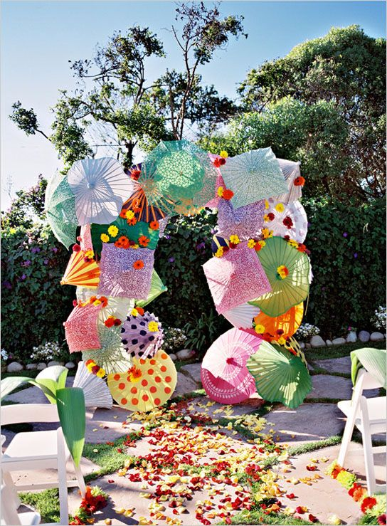 Parasol ceremony backdrop - adds character and a punch of color - outdoor christmas decorations wholesale