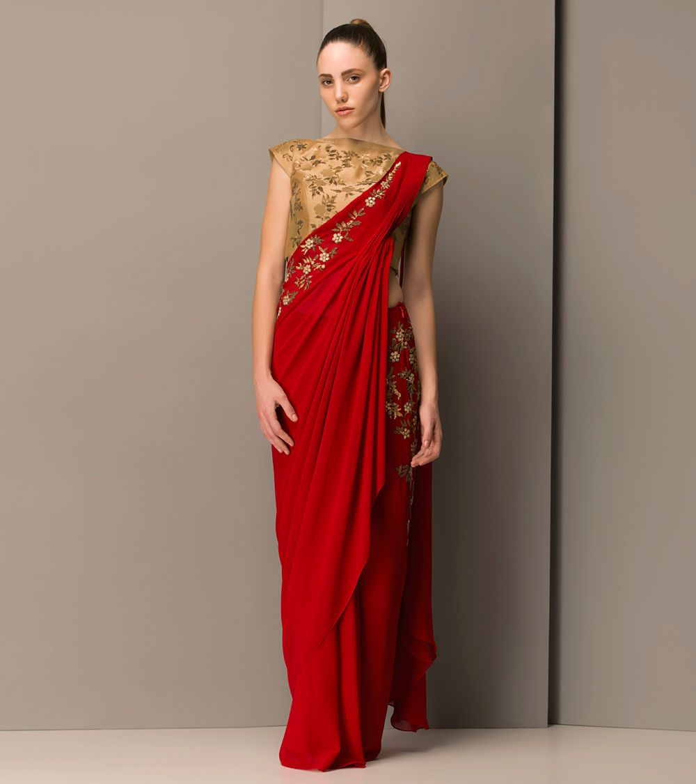 Red Embroidered Georgette Viscose Drape Saree