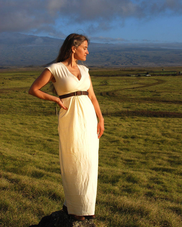 Rustic wedding dress maxi dress cap sleeve organic cotton hemp
