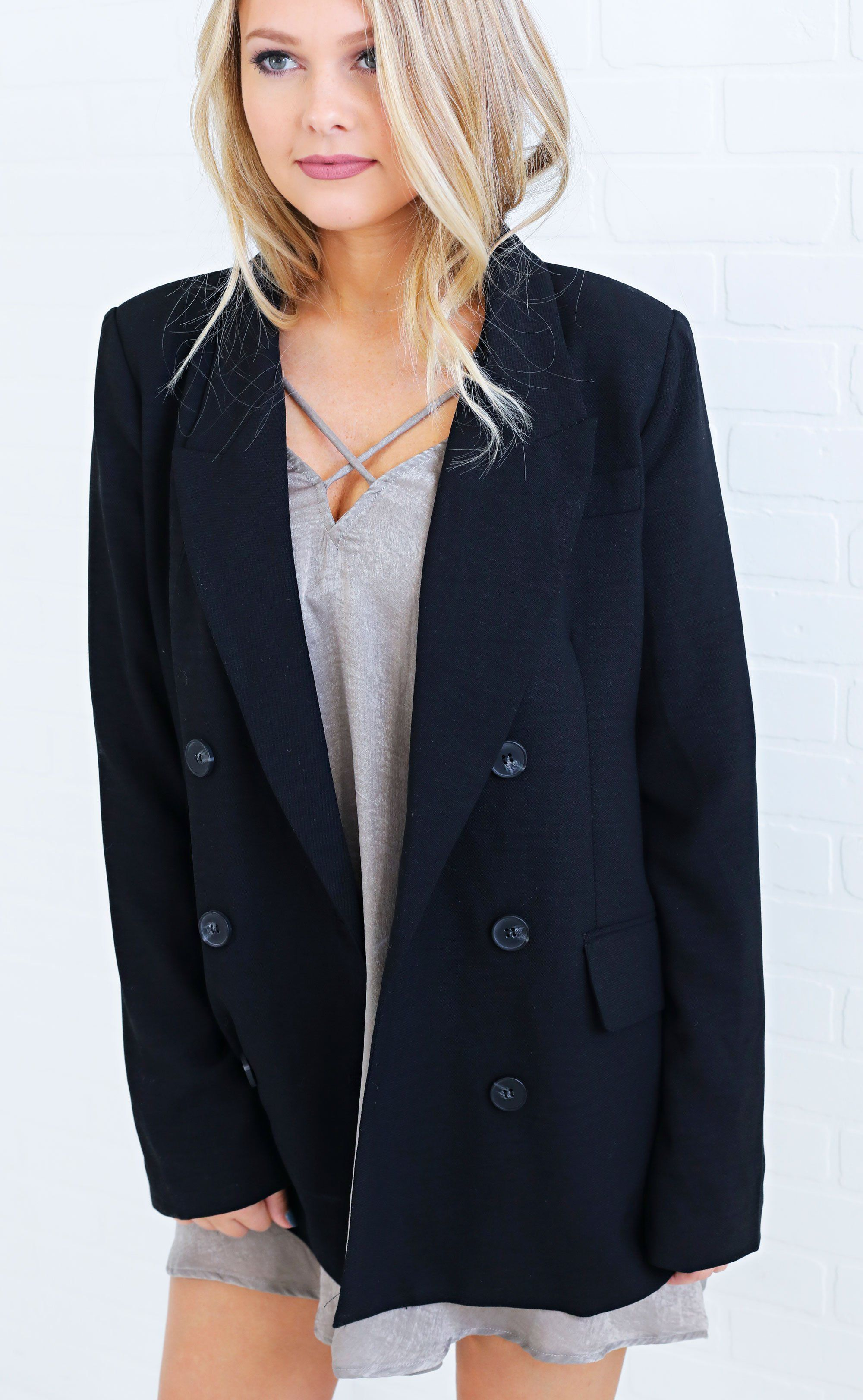 5d14a13ef4 Spice up your office wardrobe! This blazer features a double ...
