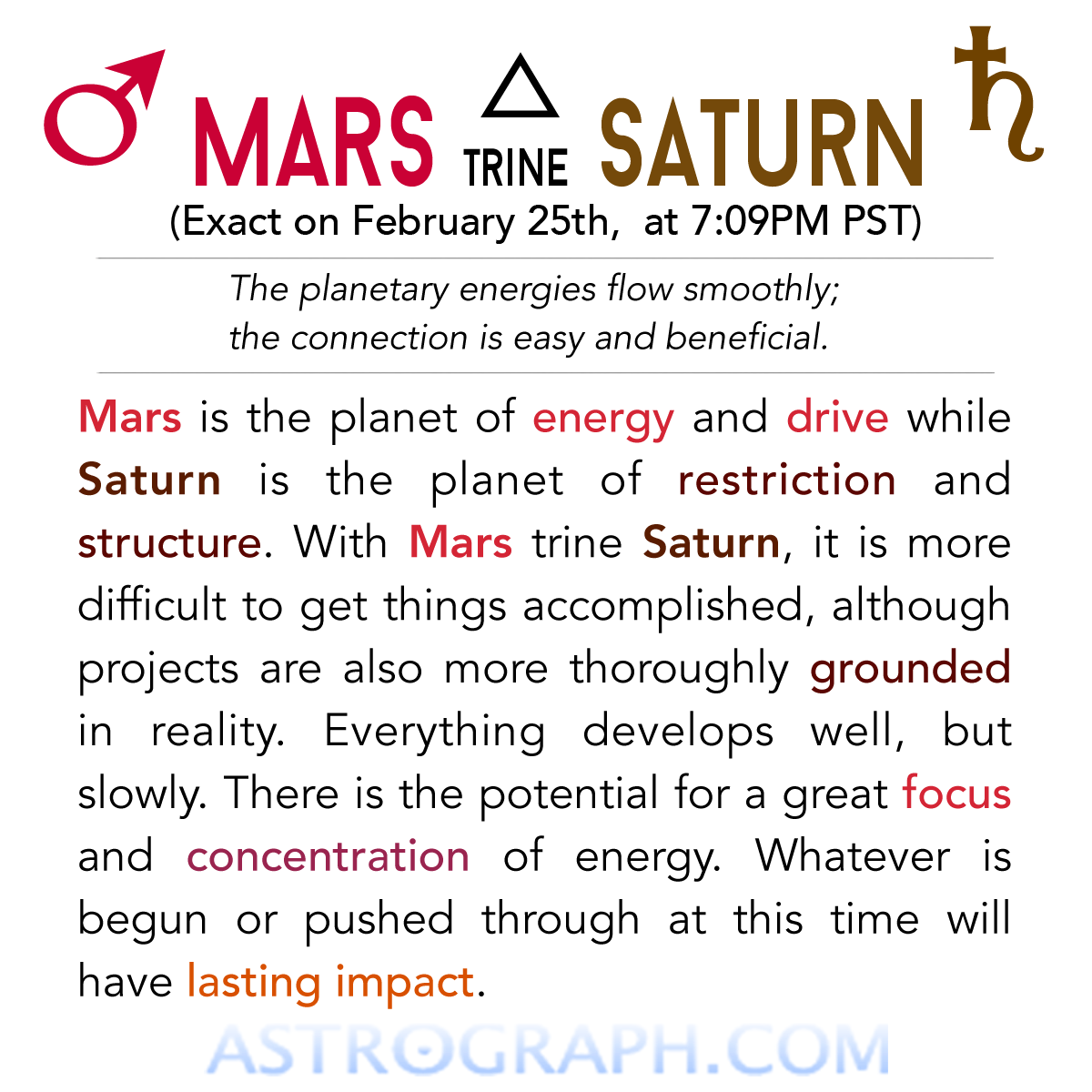 ♂△♄ Today Mars is trine Saturn! ASTROGRAPH COM ☆ ASTROLOGY